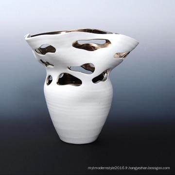 Décoration à la décolleté en céramique glacée blanche Vase en conteneur de plantes à air (PA02)