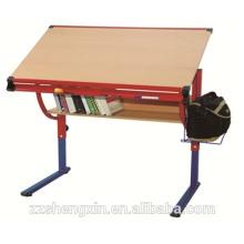 Mesa de desenho de madeira dobrável Altura ajustável para escola