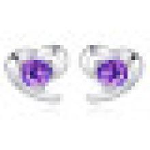 Women′s Fashion 925 Sterling Silver Heart-Shaped Earrings Inlay Zircon