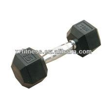 MEILLEURE qualité en caoutchouc Haltère enduite hex / équipement de fitness