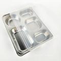bandeja de bagunça dividida reutilizável do almoço do prato da placa 5 do almoço com tampa