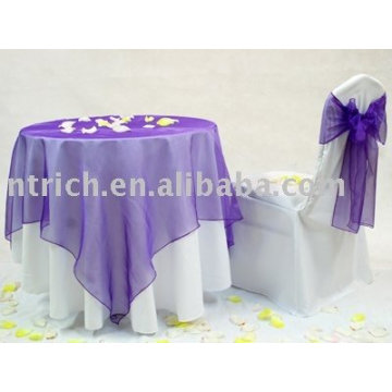 Tablecloth with Organza Overlay,Banquet table cover, Tablecloth