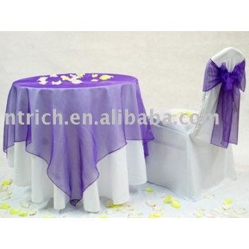 Toalha de mesa com sobreposição de Organza, tampa da mesa de banquete, toalha de mesa