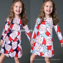 2017 China Fornecedor de Alta Qualidade Roupa Infantil Colorido Crianças Frocks Natal Crianças Menina Vestido