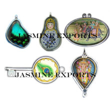 Indian Hand Painted Silver Pendants