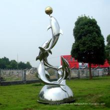 Escultura de acero inoxidable Escultura de arte de espectáculo de delfines para jardín / al aire libre