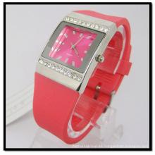 Reloj de pulsera de cuarzo de silicona en piedra roja