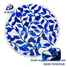 Personalizado extra grande 100% toalha de microfibra grande rodada toalha de praia