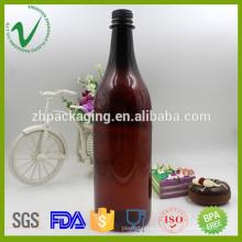 Bouteille en plastique ambre vide en gros de qualité alimentaire pour l'emballage du vin