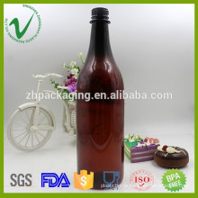 food grade wholesale empty amber plastic bottle for wine packaging