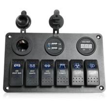 6 Gang LED Car Boat Rocker Switch Panel 2 USB Socket Cigaretter Plug Voltmeter Car Auto Switches LED Switch USB Rocker Switch