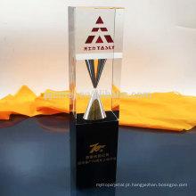 Prêmio de troféu de cristal de design novo preço atraente qualidade superior com ampulheta