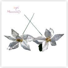 Flores decorativas artificiais da poinsétia de X′mas para a decoração da árvore de Natal