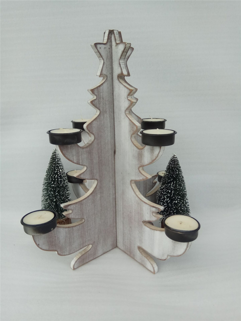 white-wash wooden candle holder