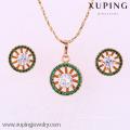 Joyería de cobre 62050-Xuping para mujer Conjunto de joyería de latón con 18K chapado en oro