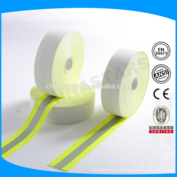 FR reflective tape of soft aramid backing in yellow-silver-yellow color