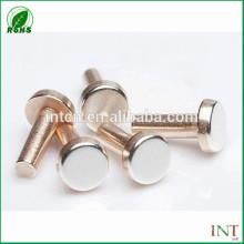 rebites de cobre sólidos cabeça plana