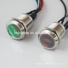 Personalización Coche Barco Potencia START STOP Button 12V 24V Verde Rojo LED, 22mm Interruptor de Botón de Enclavamiento de Metal Impermeable IP67