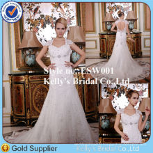 2014 cap sleeves high quality crystal beading sexy back muslim wedding dress