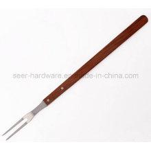 "21 ""de madera de largo mango de acero inoxidable barbacoa tenedor (SE-5251)"