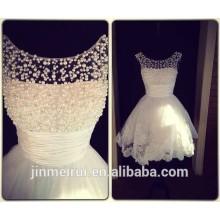 Real Pictures Novo estilo Scooped Neckline Beaded Pearls Lace vestido de casamento curto