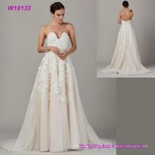 Long Strapless Sweetheart Beaded Taffeta and Tulle Skirt Cheap Wedding Dresses