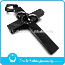 Religiosa Oração de Aço Inoxidável Crente Preto E Ouro Jesus Personalizado Birthstone Cross Enhancer Pingente de Compras Online
