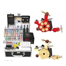 2 Bullet Guns Tattoo Kit with LCD Power (40 Color Ink)