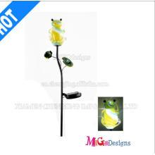 Estatuilla de lámparas solares de rana de vidrio y metal de moda