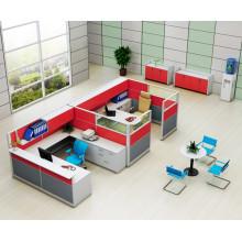 Cubículo rojo de la estación de trabajo de la oficina de 2 plazas con el gabinete de la parte superior (HF-YZQ738)