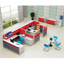 Red 2 Seater Office Workstation Cubicle with Upside Cabinet (HF-YZQ738)