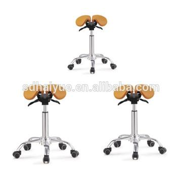 orange PU saddle stool in barber chair
