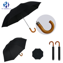 Fashion & Simple 2 Folding Auto Open Umbrella with Wooden Crook Handle