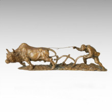 Estatua oriental de la vida de la aldea de la escultura de bronce Tple-016