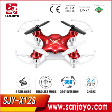 PK CX10 Venta caliente Syma X12S 4CH 6 ejes Gyro RC Drones Quadcopter Mini Drone sin cámara Juguetes de interior, Verde, Color rojo SJY-X12S