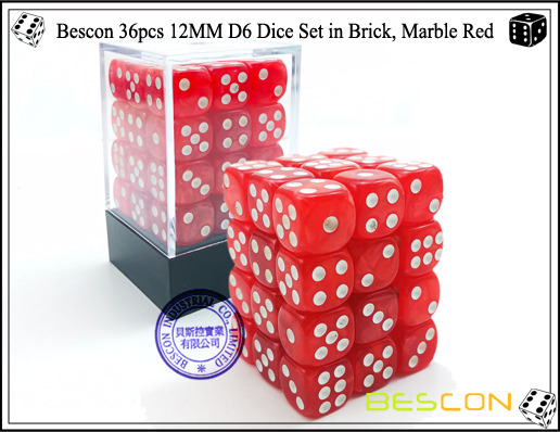 Bescon 36pcs 12MM D6 Dice Set in Brick, Marble Red-1