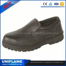 Chaussures de sécurité en cuir de travail de semelle en caoutchouc sans dentelle Ufa047