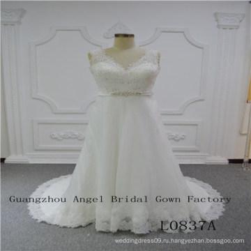Сексуальная V шеи с бисером свадебное платье
