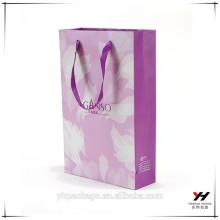 2018 papier violet logo personnalisé emballage sacs-cadeaux