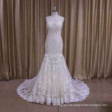 Vestido de novia de cola de sirena apliques de encaje sin mangas perspectiva