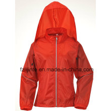 Women′s Slim Hooded Solid Windbreaker