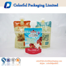 Fruit use and food industrial use stand up disposable drinking pouch doypack with spout