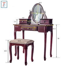 Classic style solid wooden dressing table with mirror