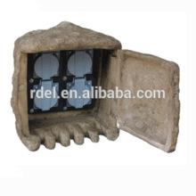 Estanque / jardín al aire libre de la seguridad 4 x caja de la roca del zócalo eléctrico del enchufe para el jardín casero