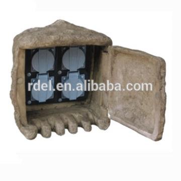 Safety Outdoor Pond/Garden 4 x Plug Electric Socket Rock Box for Garden Home Garden