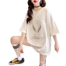 Embossed New Short-Sleeved Round Neck Pullover Rabbit T-Shirt