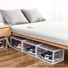 High quality resist compression capacious plastic display transparent magnetic storage stackable shoe box