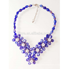 Fashion Blue Flower Chunky Statement Necklace