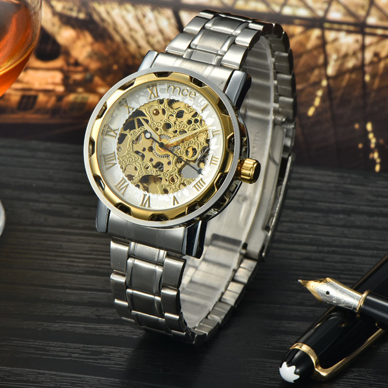 name brand skeleton bling bling wrist watch