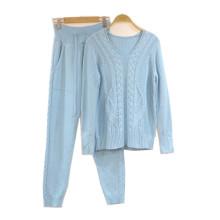 PK18ST084 Kaschmir Kabel Strickpullover Anzug für Womanyoga Set